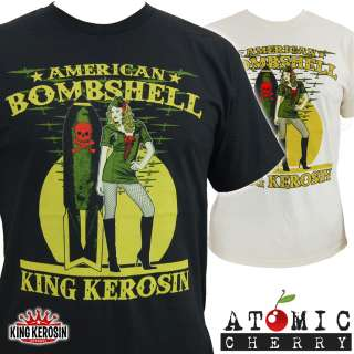 King Kerosin American Bombshell Pin Up T Shirt Rockabilly WW2 Retro