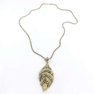 Gorgeous Bright Gold tone Dragonfly/Flower/LEAF NECKLACE