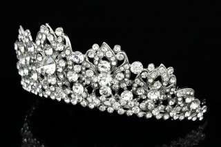 Bridal Wedding Pageant Rhinestone Crystal Lily Flower Crown Tiara V814