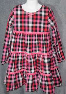 Girls BOUTIQUE HANNA ANDERSSON RED PINK CHECKERED Longsleeve DRESS 130