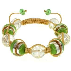 Green Murano Glass & Crystal Beads On Cotton Rope Adjustable Bracelet