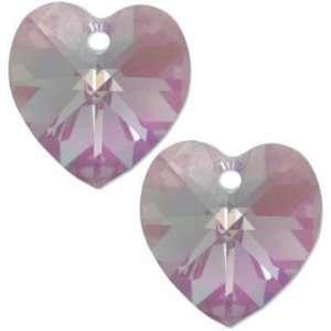 2 Lt Amethyst AB Swarovski Crystal Heart Charm 10mm