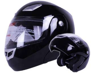 Gloss Solid Black Modular Flip up Motorcycle Helmet DOT Approved