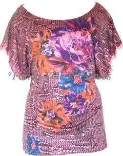 NEW Floral SUBLIMATION Tunic RHINESTONE Dress Top 2X 18 20 Women Pink