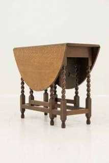 Antique Scottish Oak Drop Leaf Gateleg Table With Oval Top on Barley