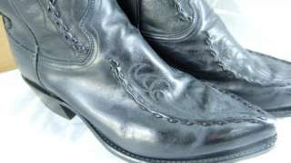 Dan Post Cowboy Boots Black Leather Used Mens 10 D