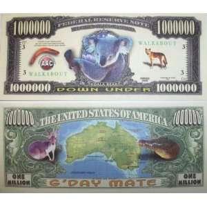 Set of 10 Bills Koala Aussie Million Dollar Bill Toys & Games