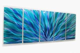 Painting Blue Green Metal Wall Art Sculpture decor Blue Aurora