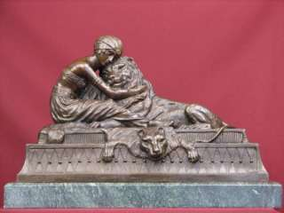 VERY RARE BRONZE SCULPTURE ART DECO LION STATUE SIGNED
