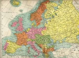 Europe Austria Spain Russia Antique Map 1889