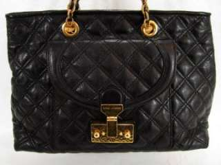 NWT MARC JACOBS Black Astor QUILTED Lambskin Leather SATCHEL BAG PURSE