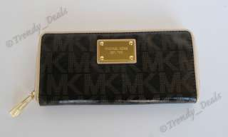 NWT Michael Kors Logo PVC Continental Jet Set Zip Around Wallet Clutch
