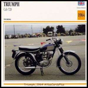 Motorcycle Card 1964 Triumph Cub T20 200 single cyl