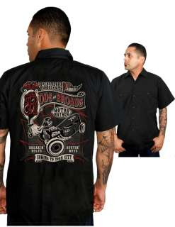 Broads Work Shirt Rockabilly Punk Retro Cool New Hot Rod Tattoo