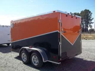 12 double motorcycle enclosed trailer blk and org harley color
