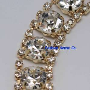 wedding cak decor applique diamante rhinestone crystal GOLD chain