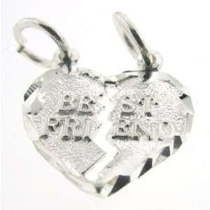 Silver 18 Rolo Chain Necklace with Charm Best Friend Break Away Heart