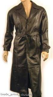 LEATHER TRENCH COAT Full Length BLACK Blade Gothic 2XL