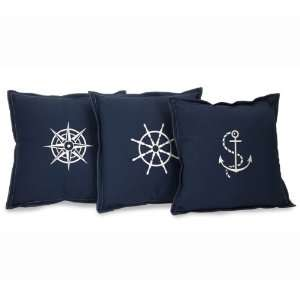 Set of 3 Nautical Embroidered Navy Blue Square Throw