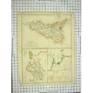 ANTIQUE MAP c1790 c1900 SICILIA SYRACUSAE BAY NAPLES Home