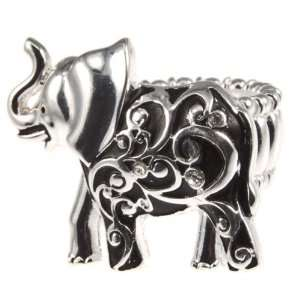 Silver Tone Stretch Band Ring with Elephant Focal of Silver Tone and