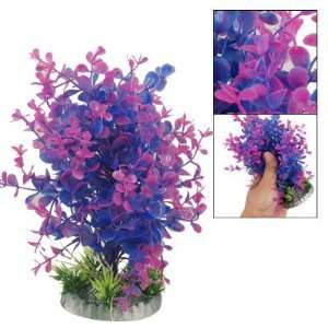 Como Fish Aquarium Purple Blue Grass Plant Decor w Base: Pet Supplies