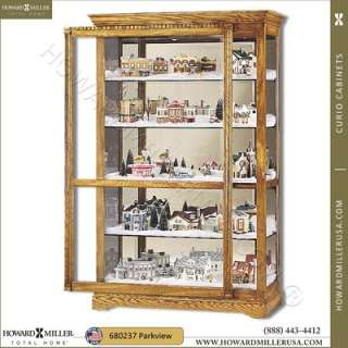 680237 Townsend  Howard Miller Large Oak Curio Display Cabinet