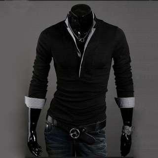 Shirt Slim Casual Shirt Long sleeved T shirt Cotton New B04