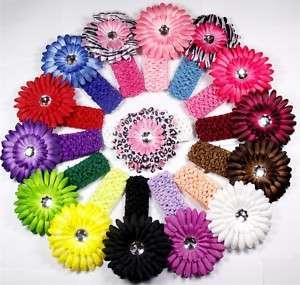 15 baby daisy flower hair clip bow crochet headband