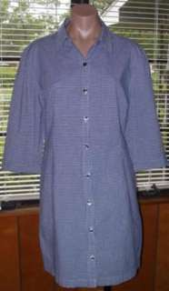 Blue White Gingham Button Tunic Shirt Top 3/4 Sleeves Sz 16 XL X Large