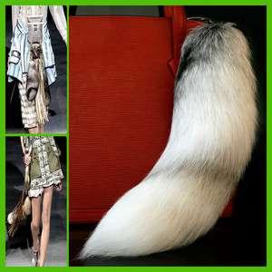 Special Natural White Cross Fox Tail Fur Tassel Keychain Handbag Charm