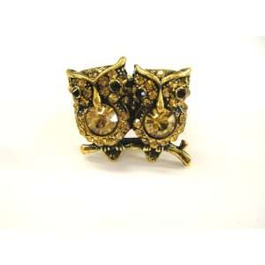 New Amazing Gold Tone Cute Double Owl Stretch Ring