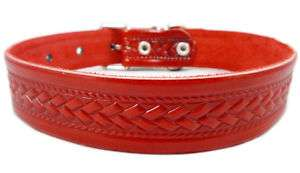 Large Tooled Leather Dog Collar Rich Pattern Texture