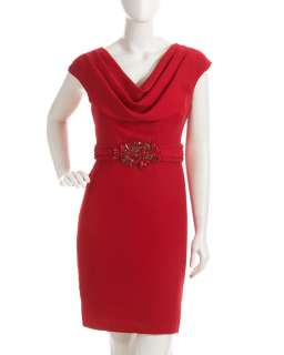 Badgley Mischka Cowl Neck Beaded Waist Dress