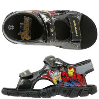 IRON, SPIDER MAN & THOR Boys Light Up Sandals Shoes NWT