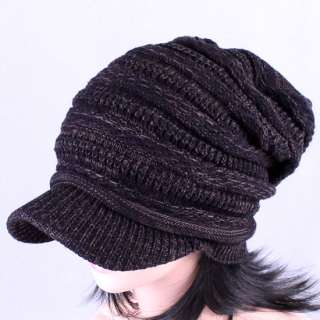 UniSex Brim Visor BEANIE Knit Crochet Cap Men Women Black White Ski