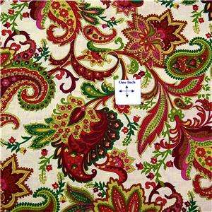 By Henry Glass Fabrics Paisley in dark rose pink, gold, olive green on