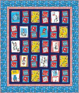 Dr. Seuss Bump Thump Panel Quilt Kit Cat in Hat 75 x 88 Red White Blue