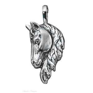 Sterling Silver Large Frontal 3D Horse Head Pendant: Jewelry