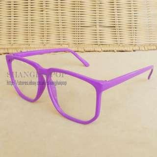Purple Clear Lens Glasses Big Large Frame Wayfarer Party Costume Men