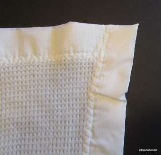 Penney WHITE Acrylic Waffle Thermal Nylon Edge Baby Blanket irr