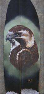 ART ORIGINAL OIL PAINTING BIRD HAWK ON EAGLE FEATHER PATTERSON