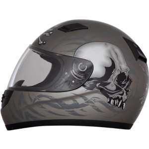 Face Street Bike Racing Motorcycle Helmet   Gun Metal Grey / Large