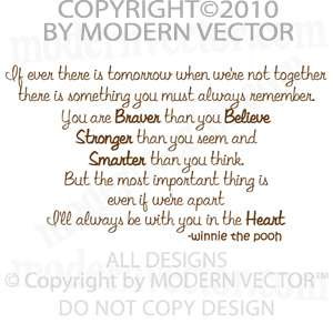 Winnie the Pooh Vinyl Wall Quote Decal Lettering