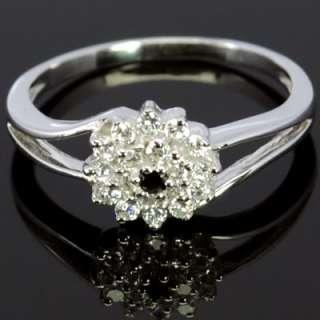 White Gold Natural Black Spinel Diamond Ladies Engagement Wedding Ring