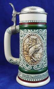 Vintage 1978 Lidded Beer Stein Mug Avon Ceramic Hunting Dog Fishing 9