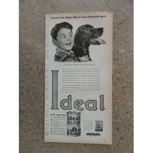 Ideal dog food, Vintage 40s print ad. black and white Illustration
