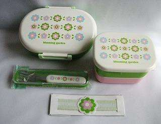 Japanese Blooming Garden LUNCH BOX SET BENTO OVAL 6pcs Pink / Green