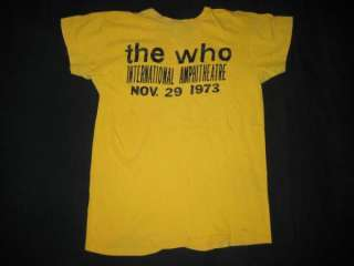 1973 THE WHO VTG STAFF CONCERT T SHIRT TOUR 70s CHICAGO