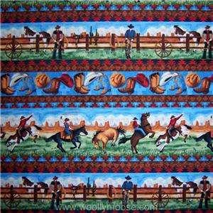 WRANGLERS RANCH Cowboy Hat Horse Saddle Lasso SSI ED Fabric 1/2 YARD